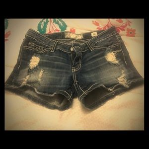 Buckle distressed jean shorts